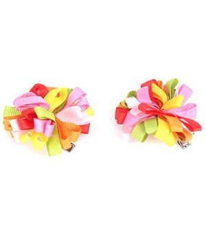 NeedyBee Floral Bow Baby Girls Hair Clip - Multicolor
