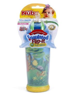 Nuby Insulated No Spill Flip It Cup Blue And Yellow - 330 ml