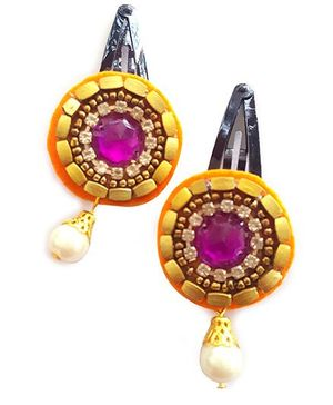 Soulfulsaai Ethnic Kundan Clips - Orange & Purple