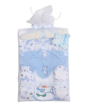 Teddy Guppies Baby Clothing Set Pack of 7 - Blue White