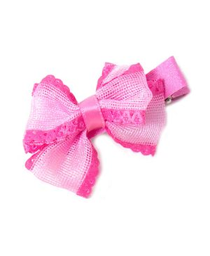 Treasure Trove Double Bow Frilly Hair Clip - Pink
