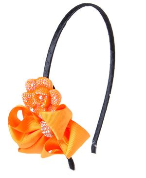Treasure Trove Bow And Flower Headband - Orange