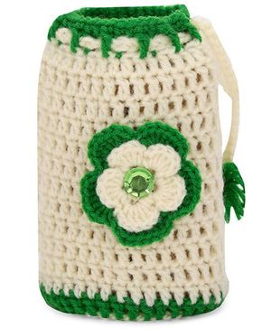 Buttercup From KnittingNani Bottle Cover - Off White & Green