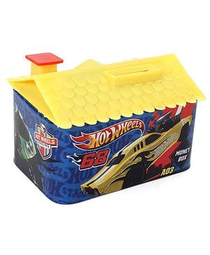 Hot Wheels House Shaped Coin Bank - Blue Yellow