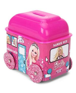 Barbie Bus Shaped Coin Bank - Pink