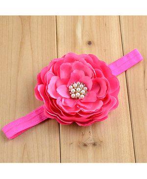 Bellazaara Big Flower With Rhinestone Headband - Fushia