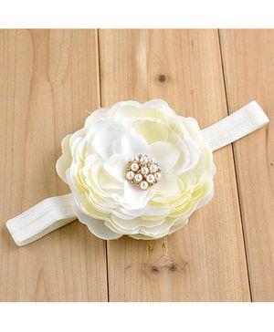 Bellazaara Big Flower With Rhinestone Headband - Ivory