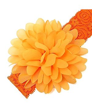 Bellazaara Large Flower Headband With Elastic - Orange