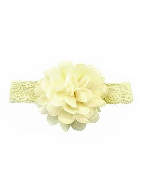 Bellazaara Large Flower Headband With Elastic - Ivory