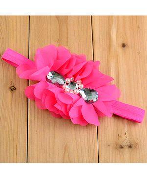 Bellazaara Flower With Crystal Headband - Fuchsia Pink