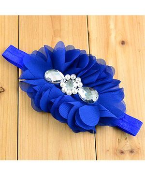 Bellazaara Flower With Crystal Headband - Blue