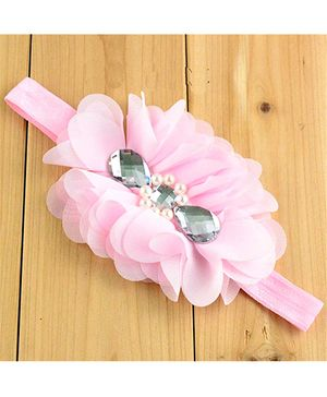 Bellazaara Flower With Crystal Headband - Pink