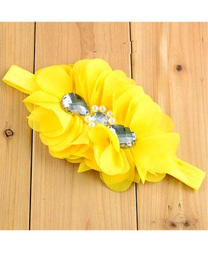 Bellazaara Flower With Crystal Headband - Yellow