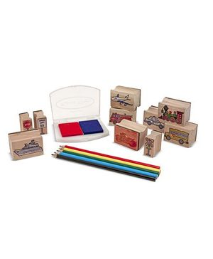 Melissa & Dough Wooden Stamp Set Vehicles - Multicolor