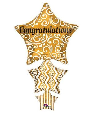 Planet Jashn Congratulations Stacked Star Foil Balloons