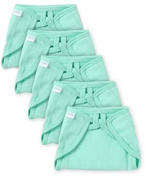Babyhug U Shape Muslin Nappy Set Lace Small Pack Of 5 - Mint
