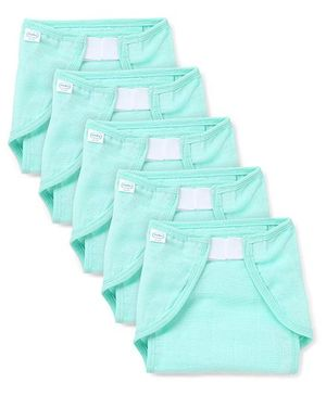 Babyhug Muslin Cotton Cloth Nappies With Velcro Large Set Of 5 - Mint Green