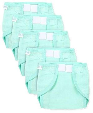 Babyhug U Shape Muslin Nappy Set Lace Extra Small Pack Of 5 - Mint Green