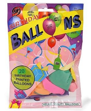 BK Happy Birthday Printed Party Balloons 20 Pieces - Multi Color