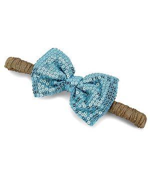 A.T.U.N. Sequins Classic Bow Headband - Aqua & Antique Golden