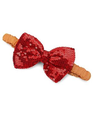 A.T.U.N. Sequins Classic Bow Headband - Red & Canary