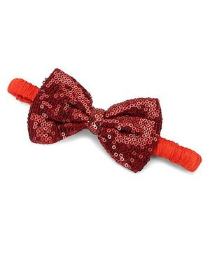 A.T.U.N. Sequins Classic Bow Headband - Copper & Tangerine