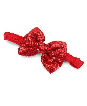 A.T.U.N. Sequins Classic Bow Headband - Scarlet Red