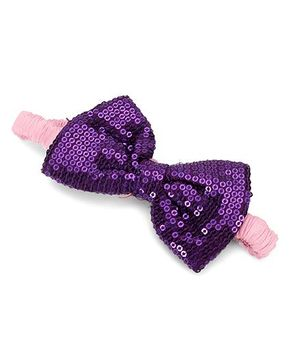 A.T.U.N. Sequins Classic Bow Headband - Violet & Pink