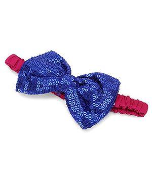 A.T.U.N. Sequins Classic Bow Headband - Blue & Fuchsia