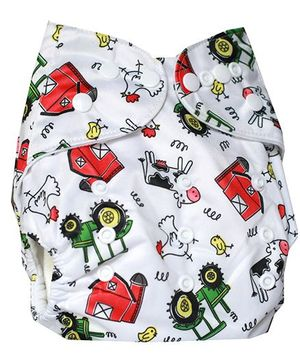 ChuddyBuddy Cloth Diaper With Insert With Barnyard Print - White