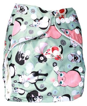 ChuddyBuddy Cloth Diaper With Insert With Cats Print - Light Blue