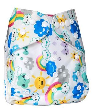 ChuddyBuddy Cloth Diaper With Insert With Rainbow Print - White