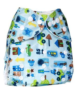 ChuddyBuddy Cloth Diaper With Insert With City Life Print - Blue