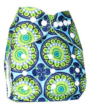 ChuddyBuddy Cloth Diaper With Insert With Paisley Print - Blue