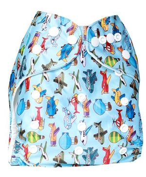 ChuddyBuddy Cloth Diaper With Flying Machines Print - Light Blue