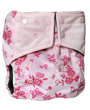ChuddyBuddy All In One Cloth Diaper With Insert Stitched Inside With Floral Print - Pink