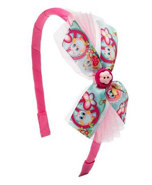 Ribbon Candy Owl Print Hairband - Pink