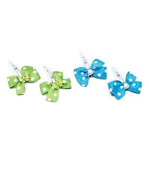 Ribbon Candy Bow & Heart Tic Tacs Combo Set - Blue & Green
