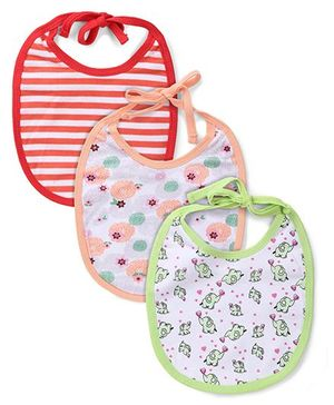 Ohms Printed Bibs Pack of 3 - Light Green Peach Red