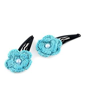 Knotty Ribbons Pair of Handmade Crochet Flower Hair Clip - Blue