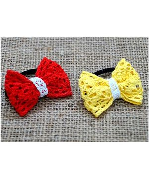 Knotty Ribbons Pair Of Handmade Bow Rubber Bands - Red & Yellow