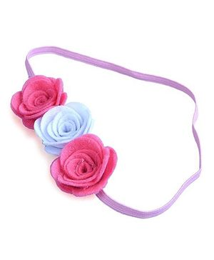 Knotty Ribbons Three Flower Headband - Pink & White
