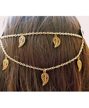Pretty Ponytails Ornate Leaves Hair Clip - Golden