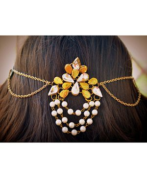 Pretty Ponytails Kundan Pearl Hair Clip - Golden