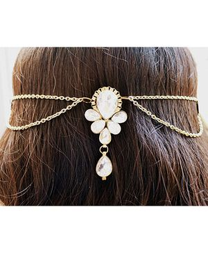 Pretty Ponytails Kundan Pearl Ring Boota Hair Clip - Golden