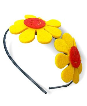Milonee Smiley Sunflower Metallic Hair Band - Yellow