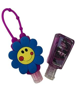 EZ Life Smiley Flower Silicon Sanitizer Holder With 2 Sanitizers - Purple