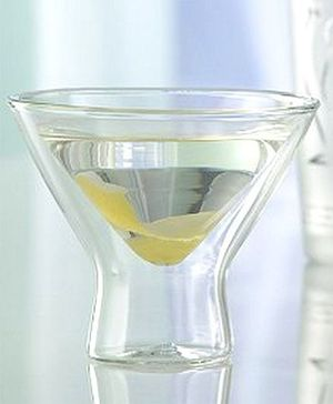 EZ Life Double Wall Martini Cup Glass - Transparent