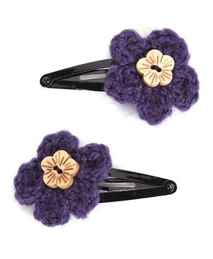 Buttercup From KnittingNani Wooden Floral Button - Purple