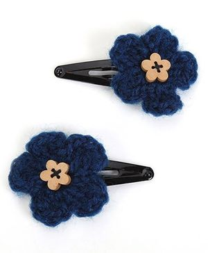 Buttercup From KnittingNani Wooden Floral Button Tic Tacs - Dark Blue